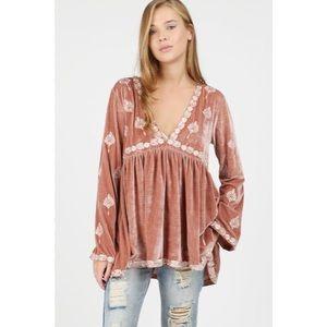 Tops - Deep V Neck Embroidered Velvet Tunic or Mini Dress